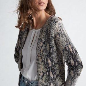 Oui Knit Cardigan Animal Print