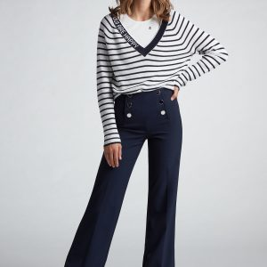 Oui Sailor Trousers With Silver Buttons