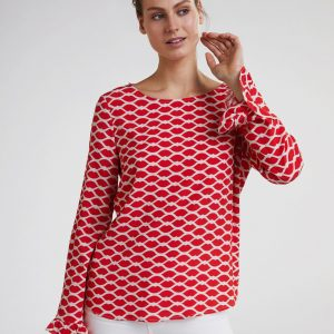 Oui Lip Print Ladies Blouse Boutique In Tralee