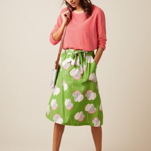 white stuff cotton green skirt