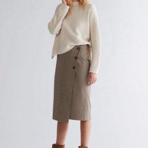 oui check wrapover skirt