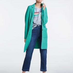 oui green boiled wool coat