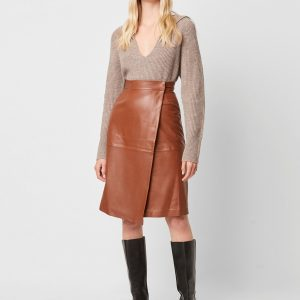 french connection tan leather skirt