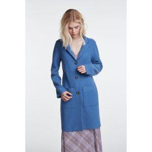 oui blue boiled wool coat