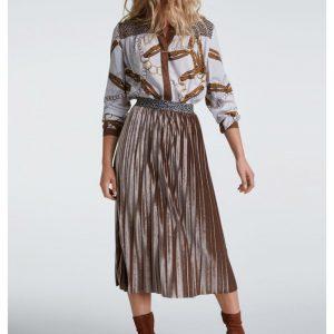 oui velvet pleated skirt