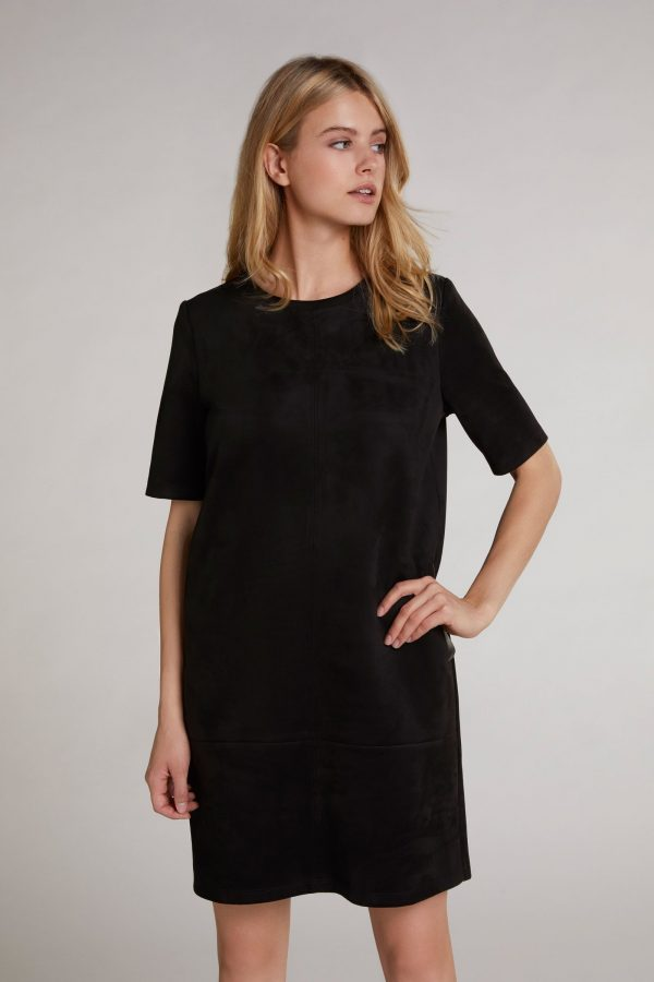 oui black suede effect dress