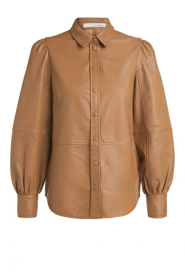 oui leather blouse top
