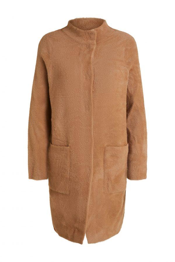 oui camel cardigan coat