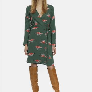green print wrap dress Effigy