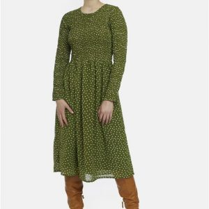 green polka dot dress midi wedding casual