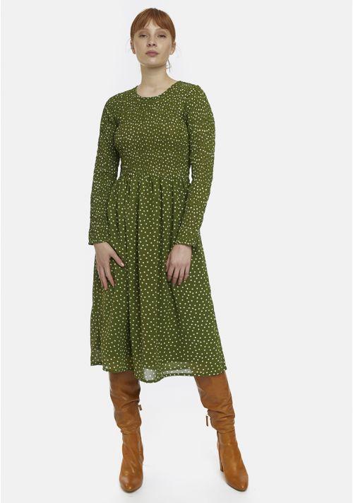 green polka dot dress midi wedding casual