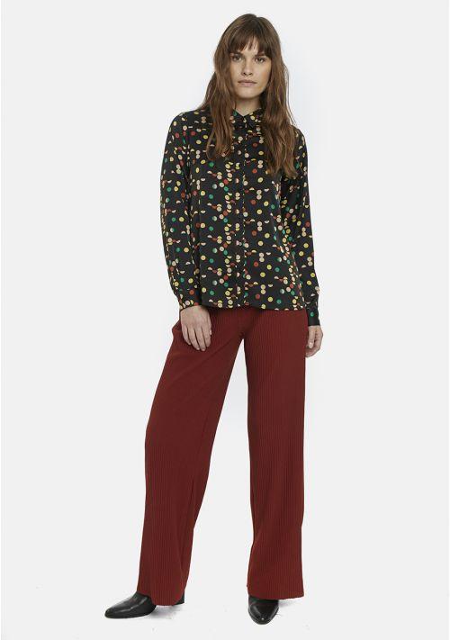 black dot print shirt blouse