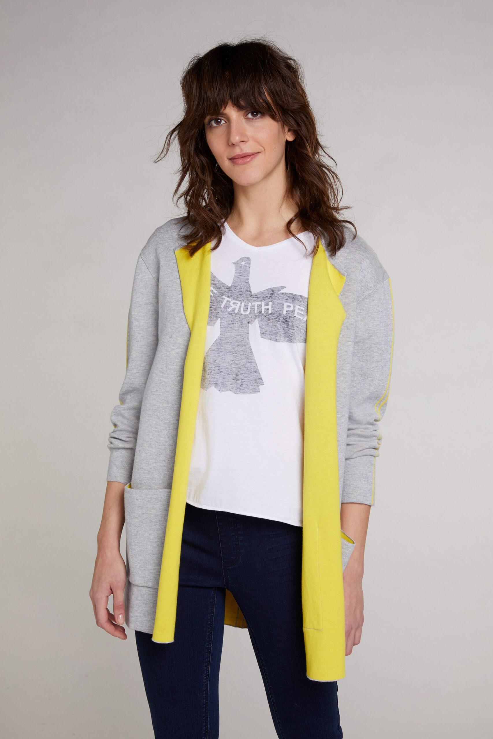oui grey and yellow cardigan