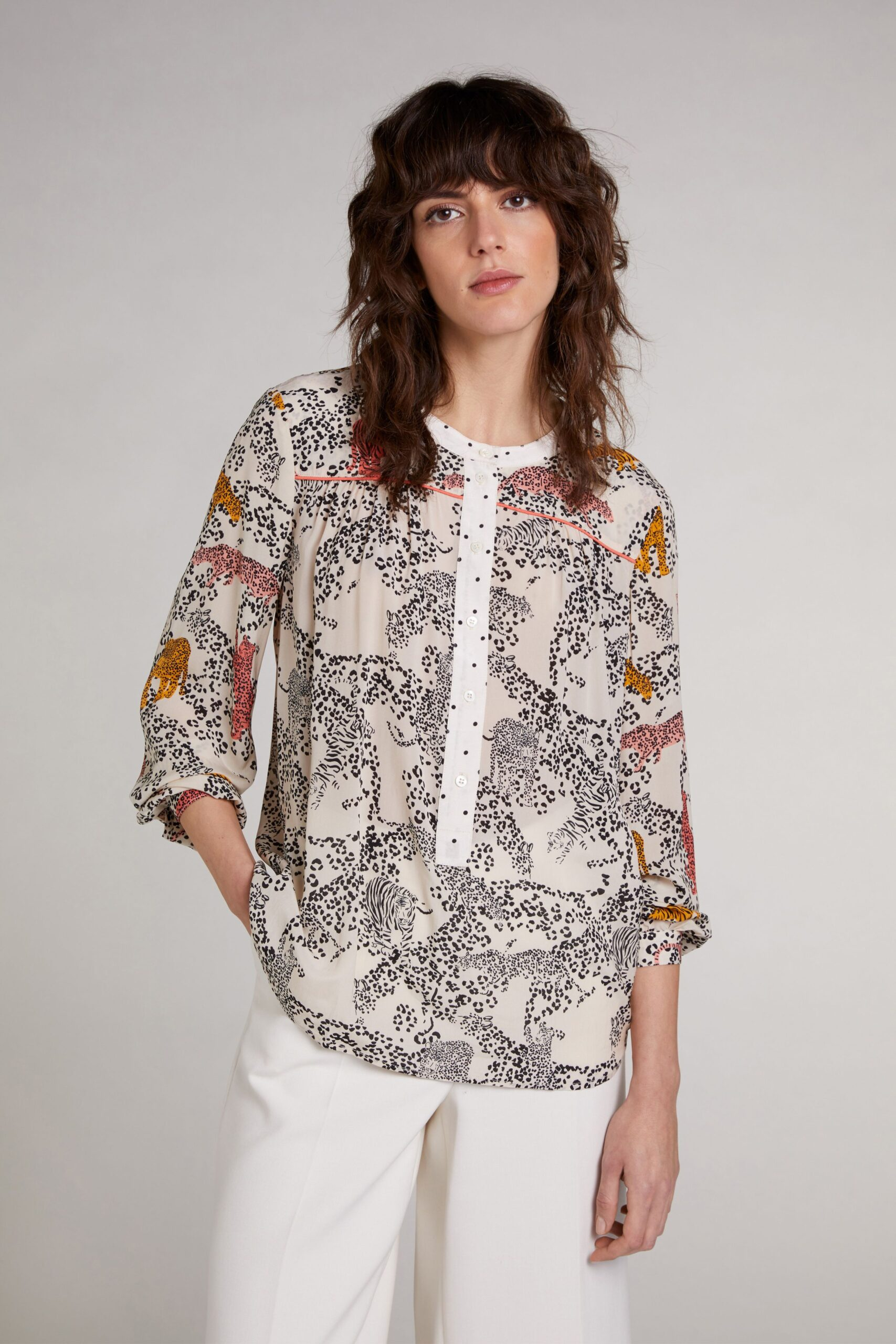 oui animal print blouse effigy boutique