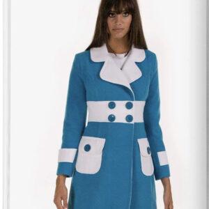 blue and white coat