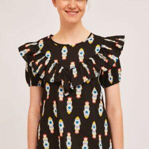 black print top blouse